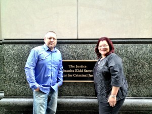 Alveda King and Bryan Kemper at the murder trial of abortionist Kermit Gosnell