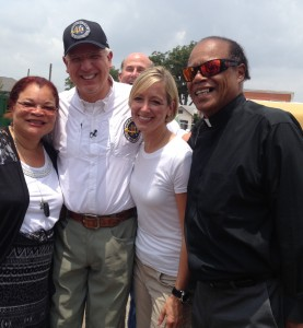 L-R: Alveda King, Glenn and Tania Beck, and Pastor Stephen Broden at Sacred Heart Church