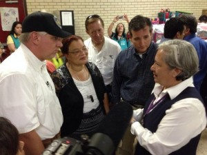 L-R: Glenn, Alveda King, Rep. Randy Weber, and Senator Ted Cruz talk with Sister Norma before going on a tour of the medical facilities in McAllen, TX.