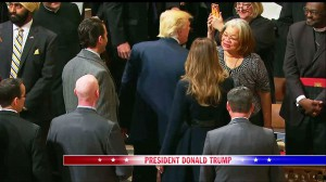 Alveda greets President Trump at National Prayer Service