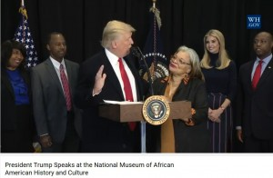Alveda with President Trump at Natl Museum of AA History and Culture